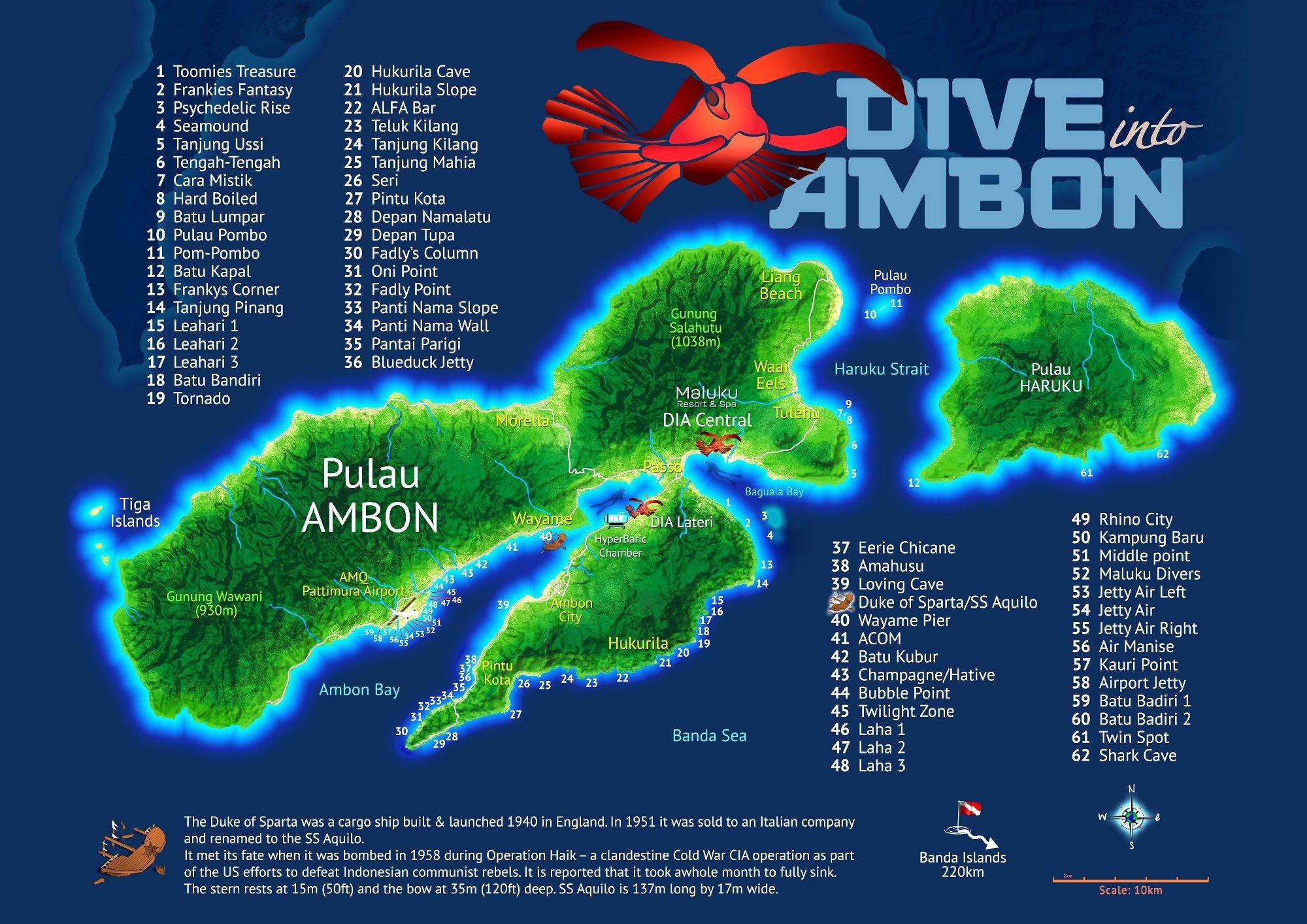 Dive map Ambon