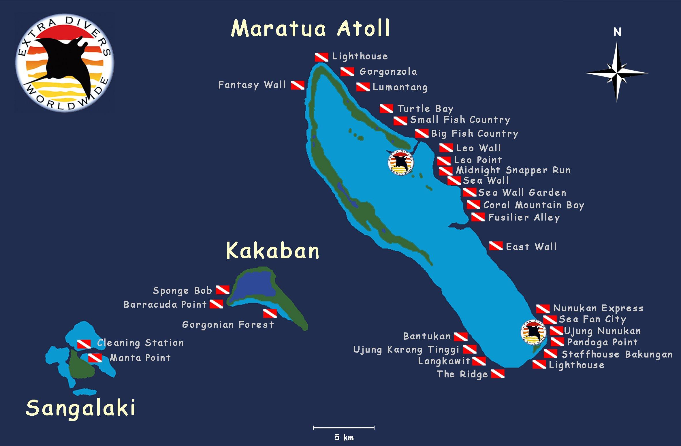 Maratua dive map