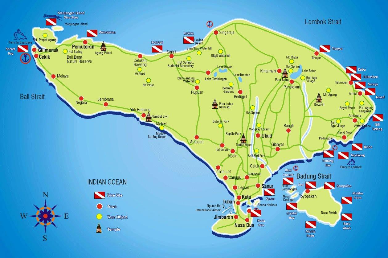 Bali dive map