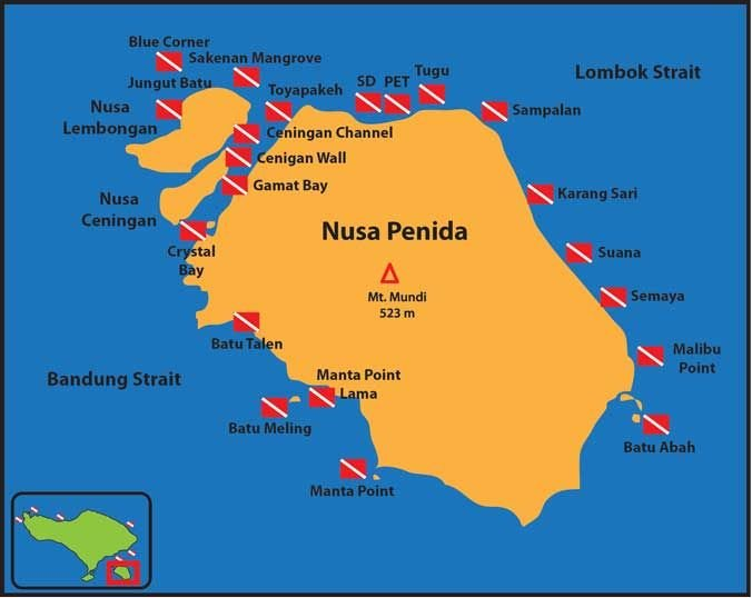 Nusa Peneeda Lembongan dive map