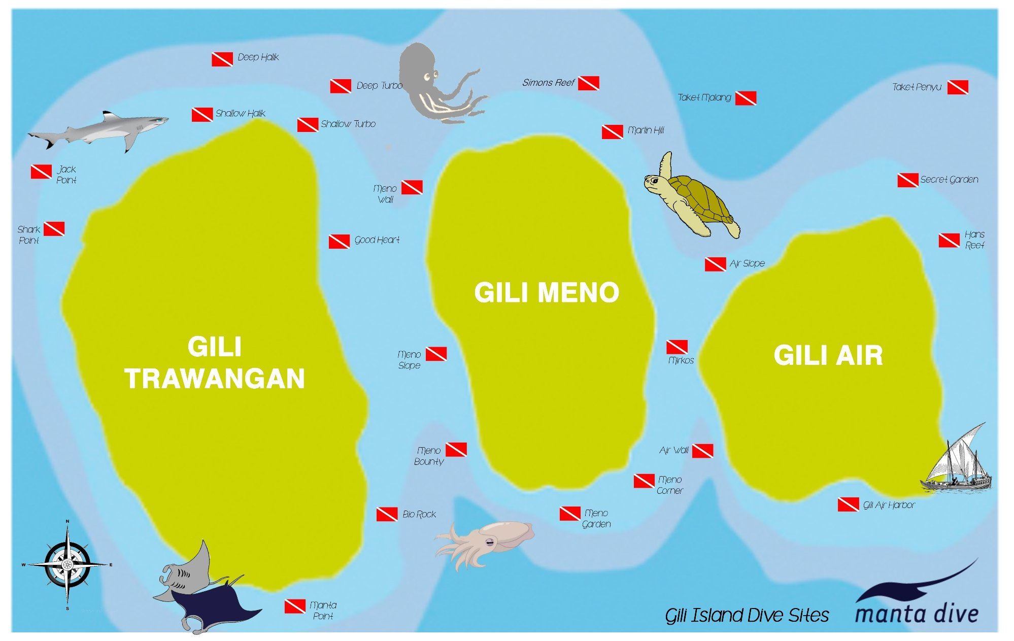 Gili dive map