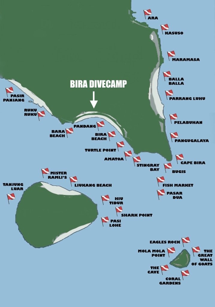 Bira dive map